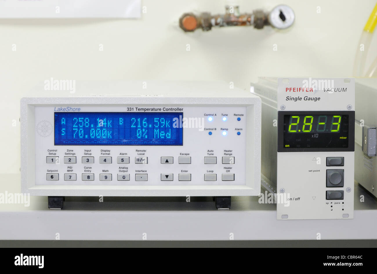 Temperature and pressure monitors in the Electronics Laboratory of the UK Astronomy Centre, Royal Observatory Edinburgh - Stock Image
