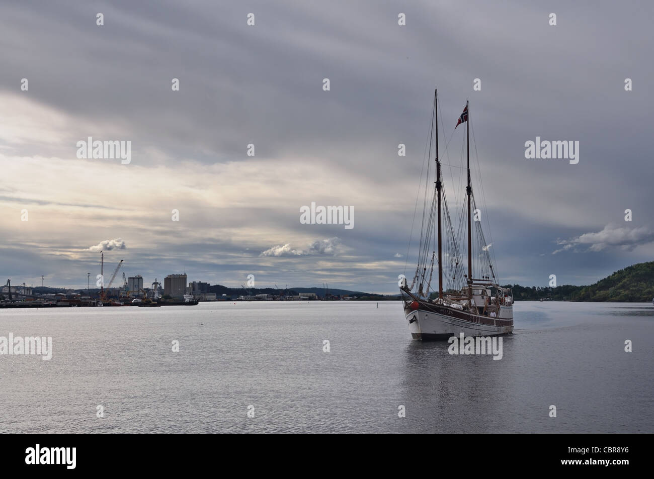 Oslo: sailing vessel in the waters of Oslofjord Stock Photo
