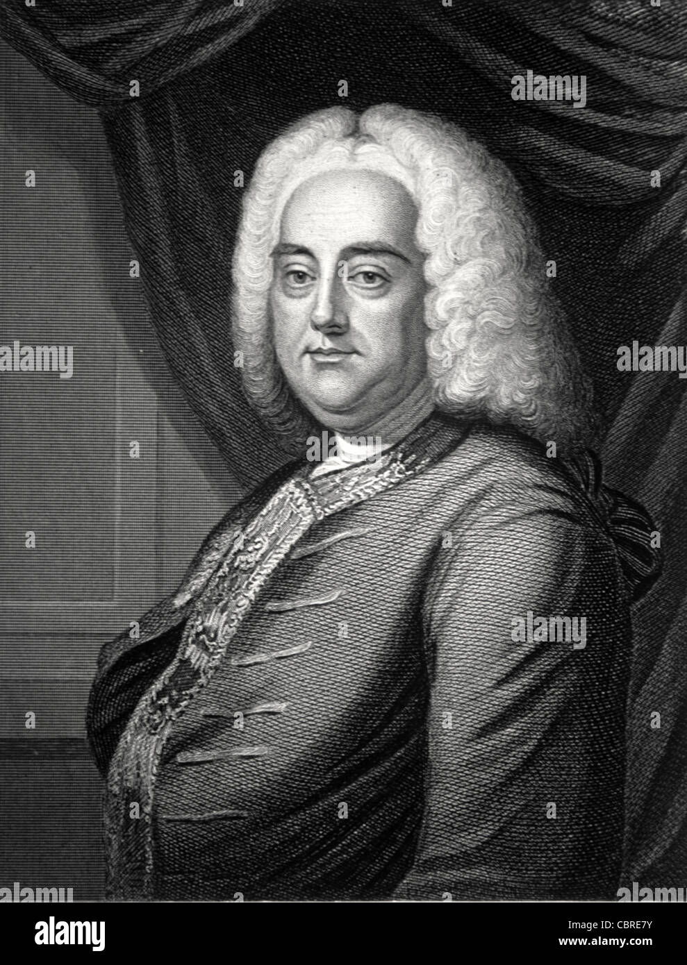 Portrait of George Frederic Handel (1685-1759) German-British Baroque Composer. c19th Engraving by J. Thomson Stock Photo