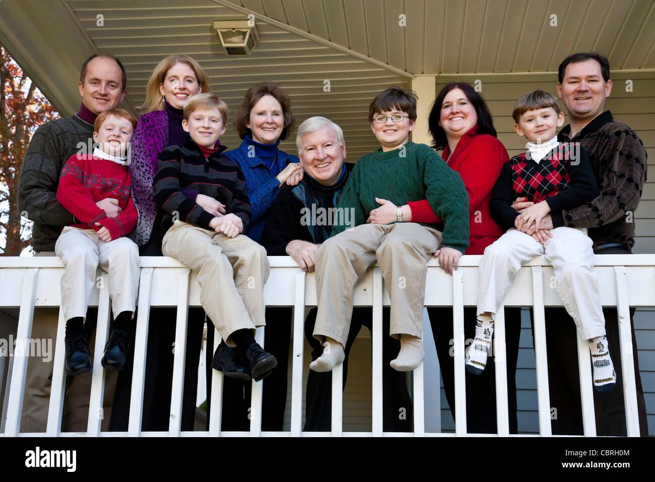 Three Generations, Family Portrait - Stock Image