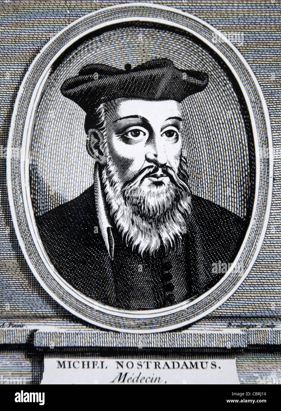 Portrait of Nostradamus or Michel de Nostredame (1503-66) French Apothecary, Seer and Astrologer wearing Medieval Stock Photo