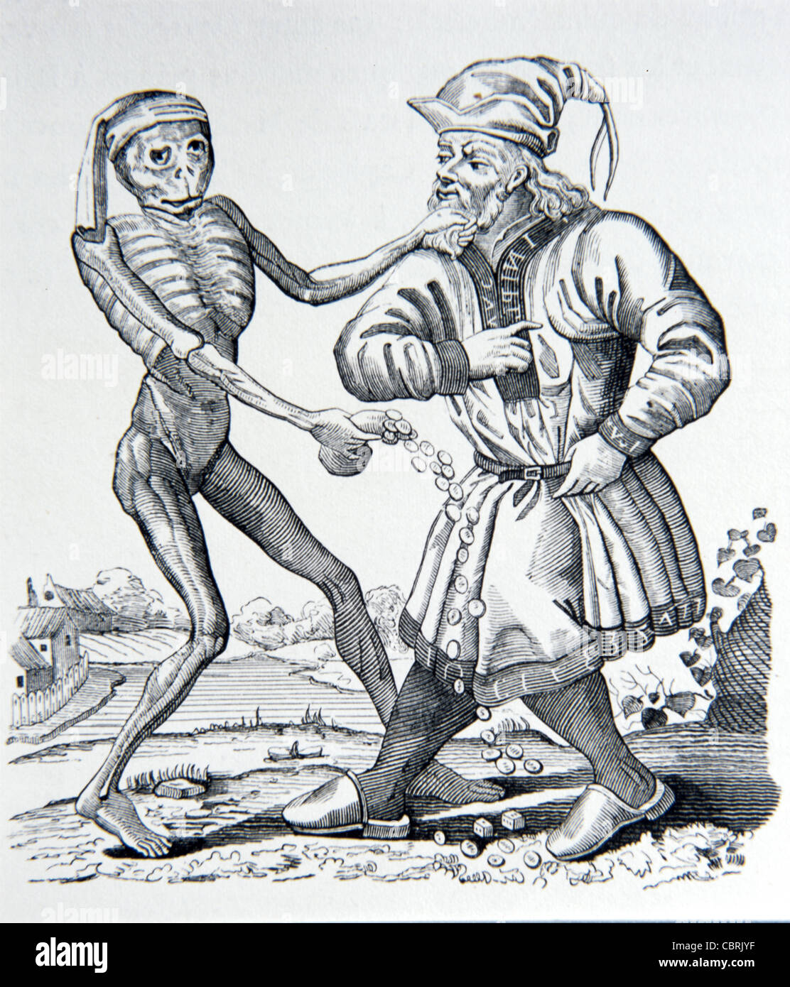 The Jew with Money or Moneylender and Death, the Dance of Death, Engraving by Matthew or Matthaus Merian, 1641. Stock Photo