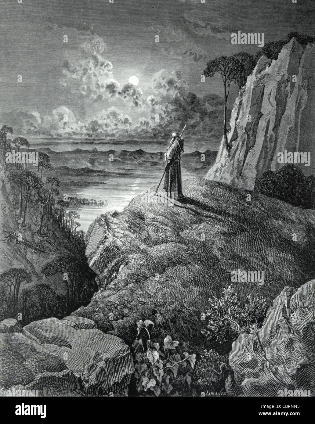 The Hermit on the Mountain, 'Atala' , A Novella by François-René Chateaubriand (1801) Engraving - Stock Image