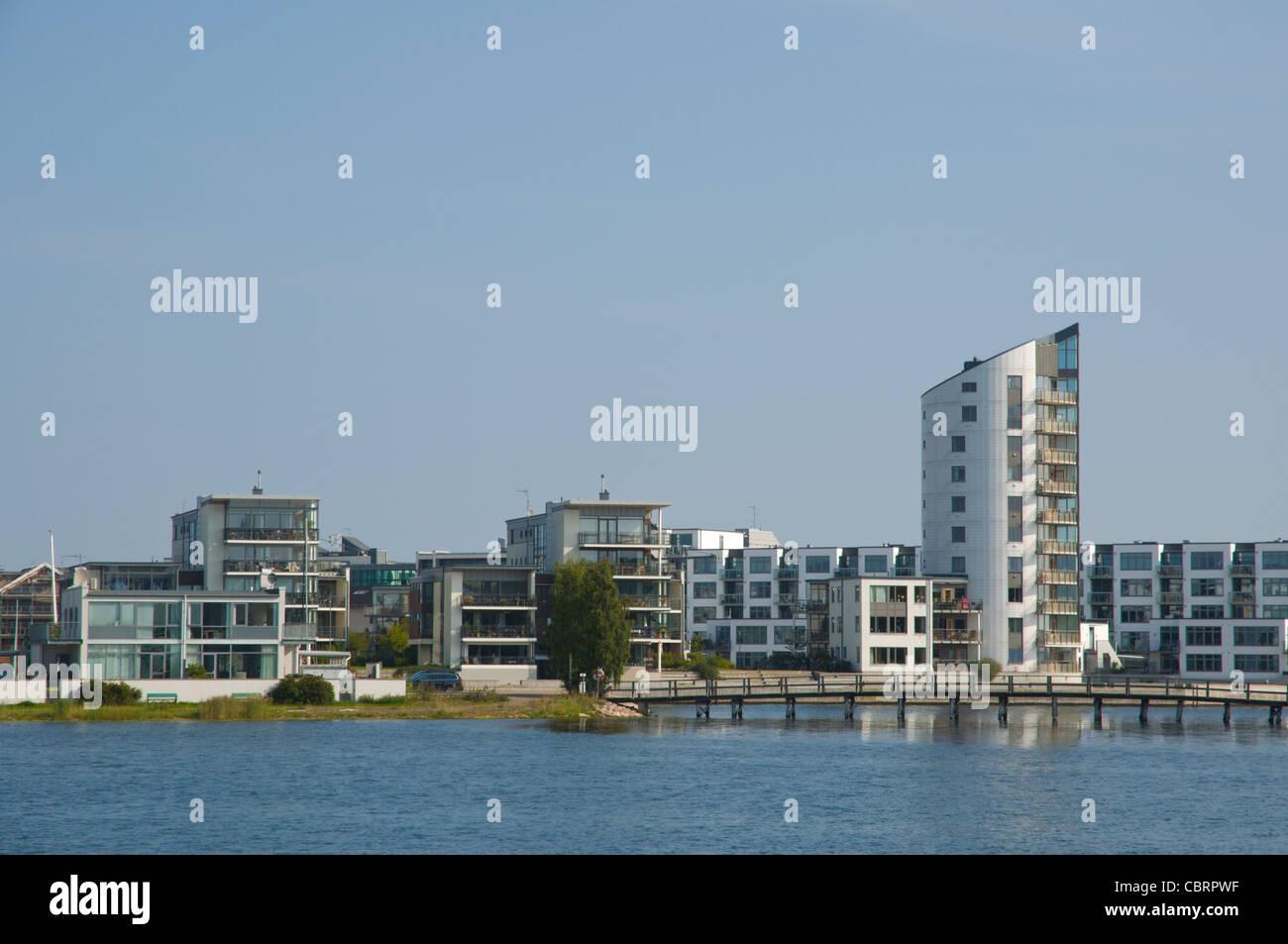 New residential buildings Ängö district Kalmar city Småland southern Sweden Europe - Stock Image