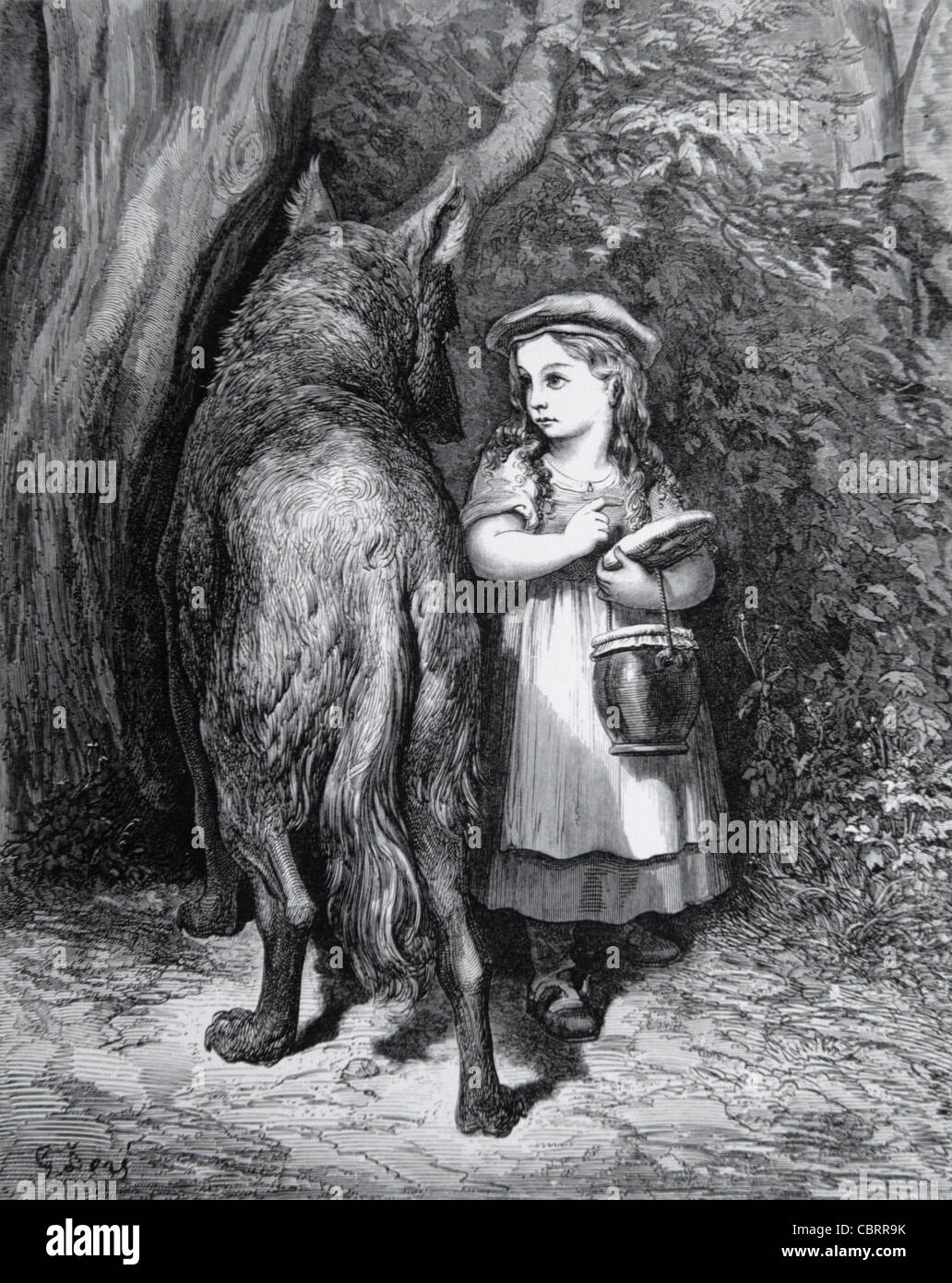 Little Red Riding Hood & the Big Bad Wolf, Engraving by Gustave Doré, 1862 - Stock Image