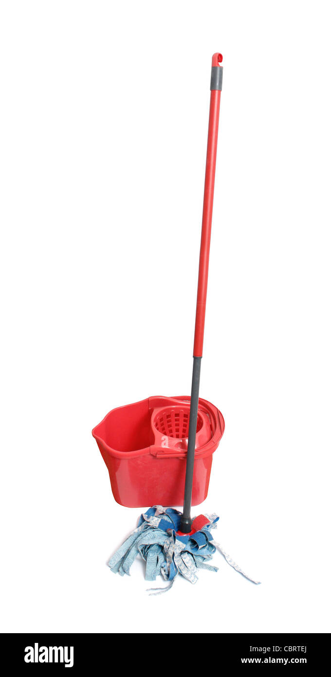 Cleaning mop isolated - Stock Image