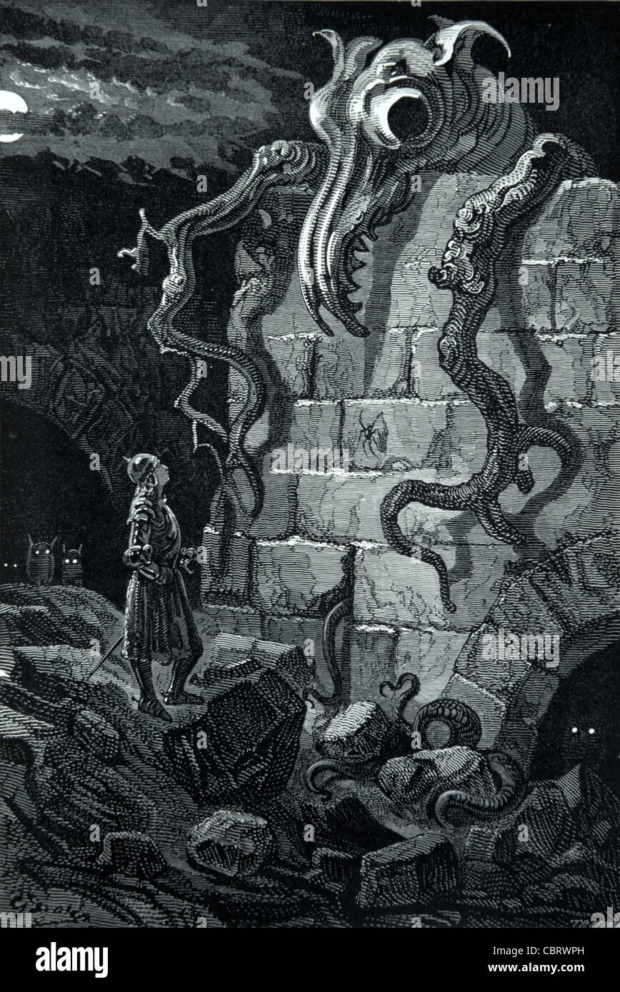 The Gnarled Monster, The French Legend of Croquemitaine, the Hand-Cruncher,  or the Bogeyman, Engraving by Gustave - Stock Image