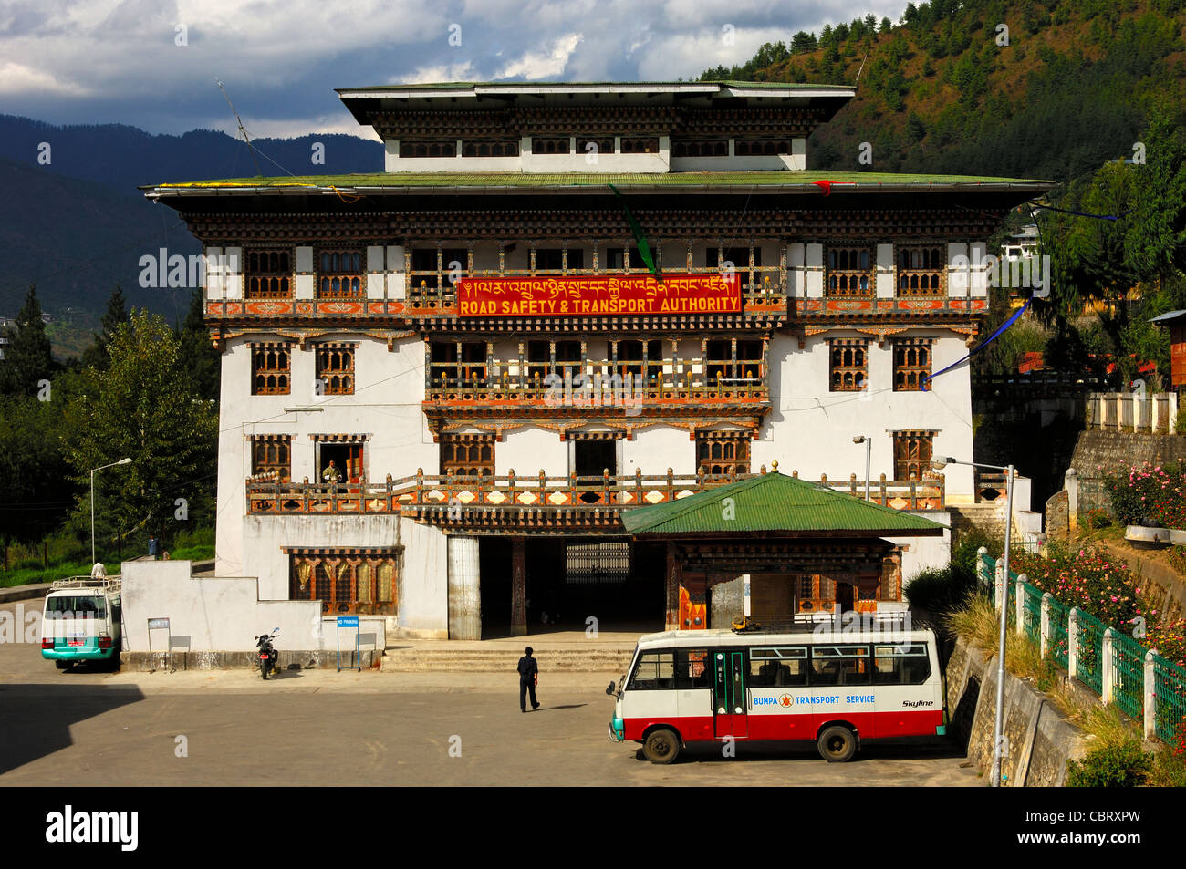 Headquarters of the Road Safety and Transport Authority, Thimphu, Bhutan - Stock Image