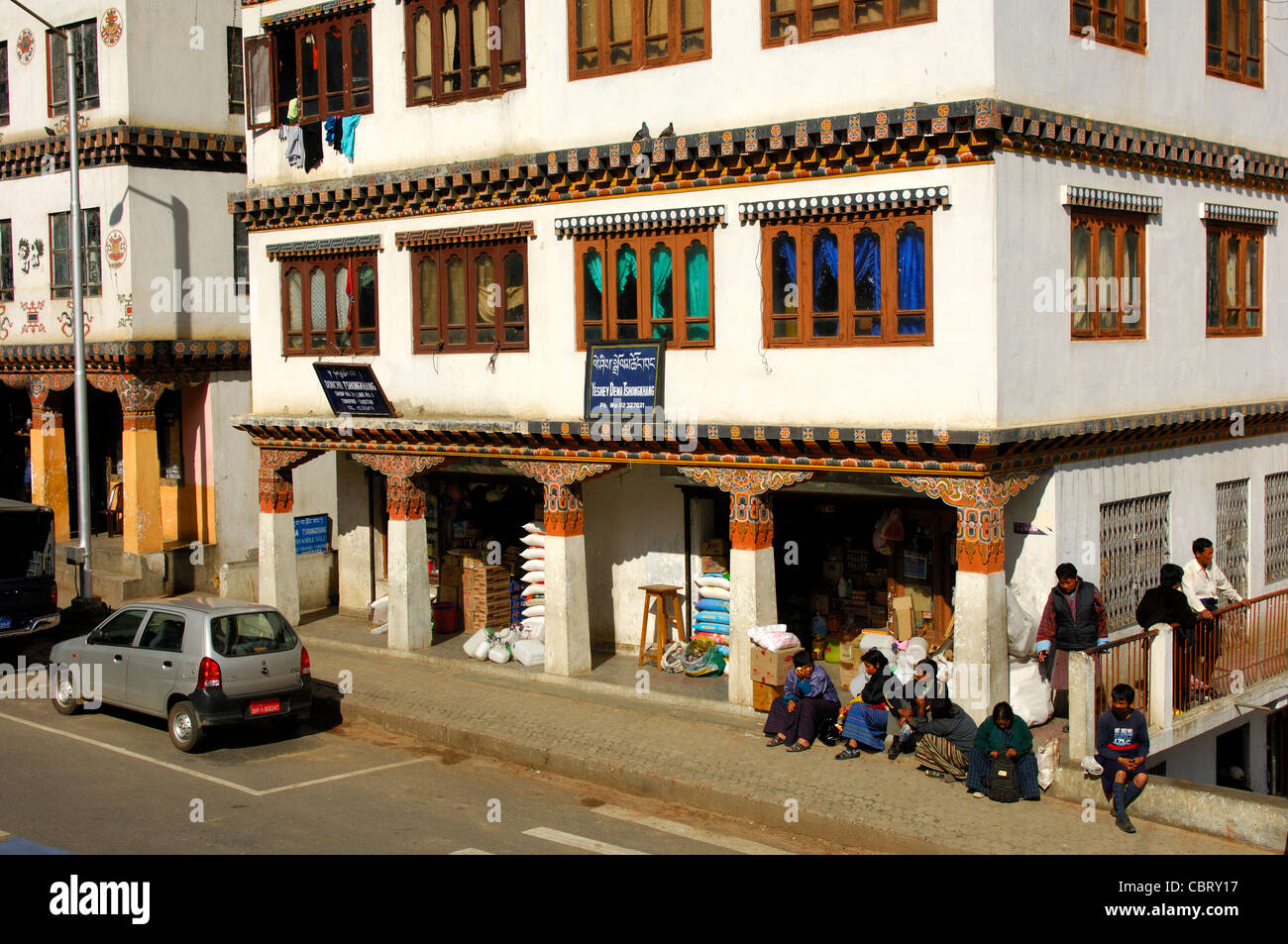 Commercial building in the centre of Thimphu, Bhutan Stock Photo