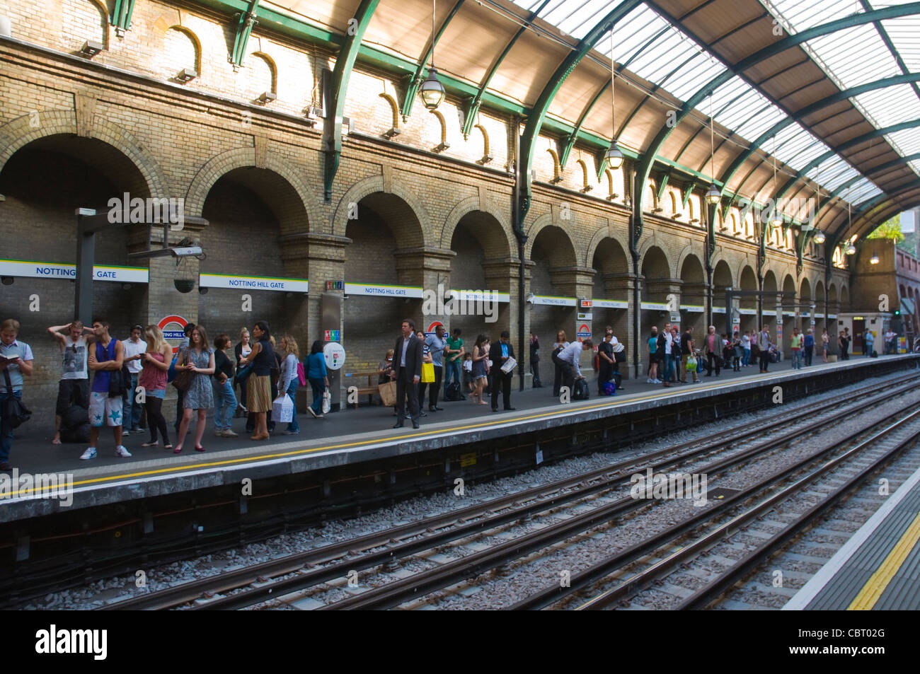 Notting Hill Gate metro station district and central lines platform west London England UK Europe - Stock Image