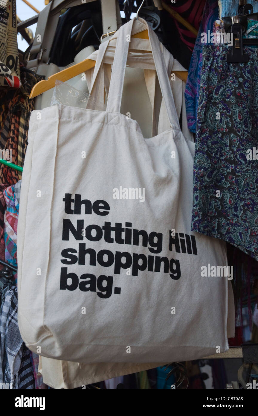 Shopping bags for sale Notting Hill district London England UK Europe Stock Photo