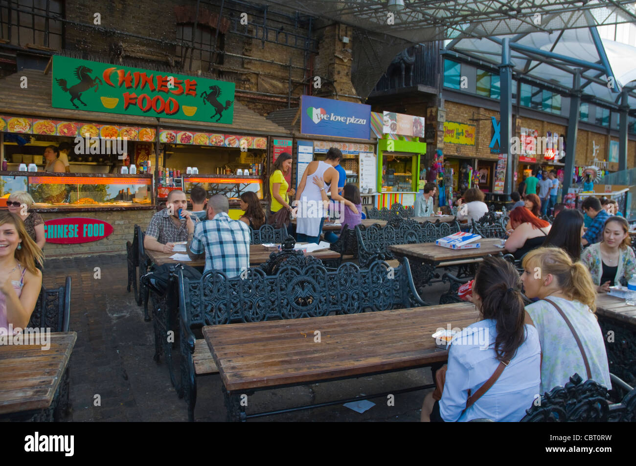 Eating area at Stables Market in Camden Town north London England UK Europe - Stock Image