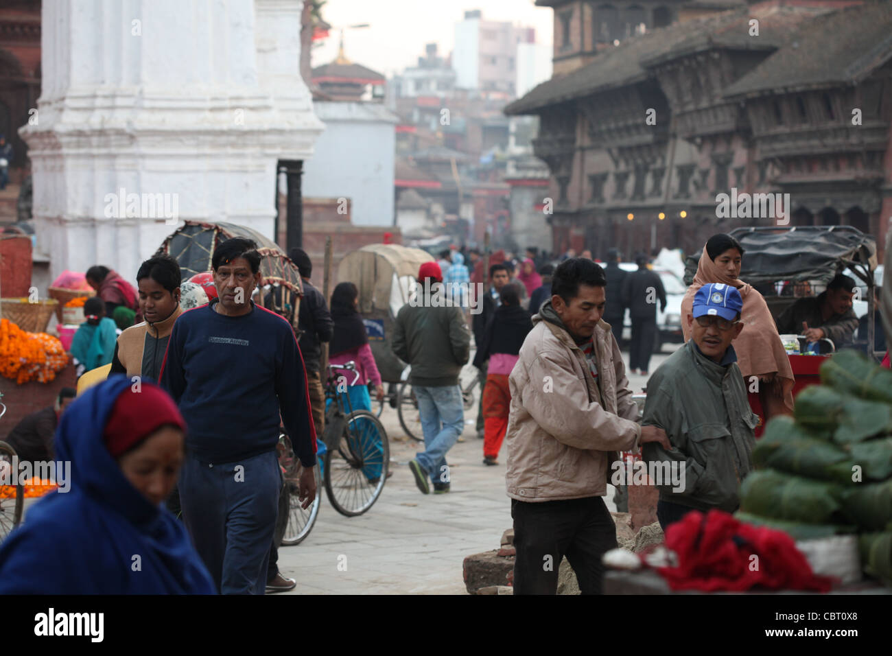 Vegetable Market in Durbar Square, Kathmandhu - Stock Image