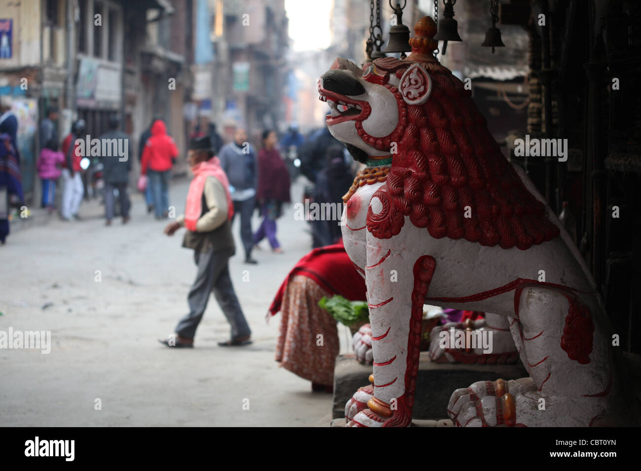 Entrance to a temple in Kathmandhu - Stock Image