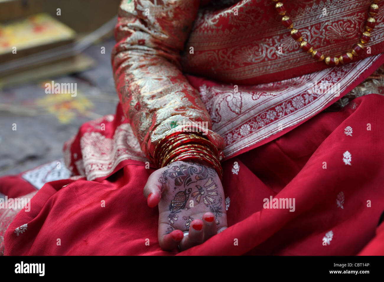 Traditional Ceremonial Henna Tattoo of Hindu Rite of passage for young Nepali Girl - Stock Image
