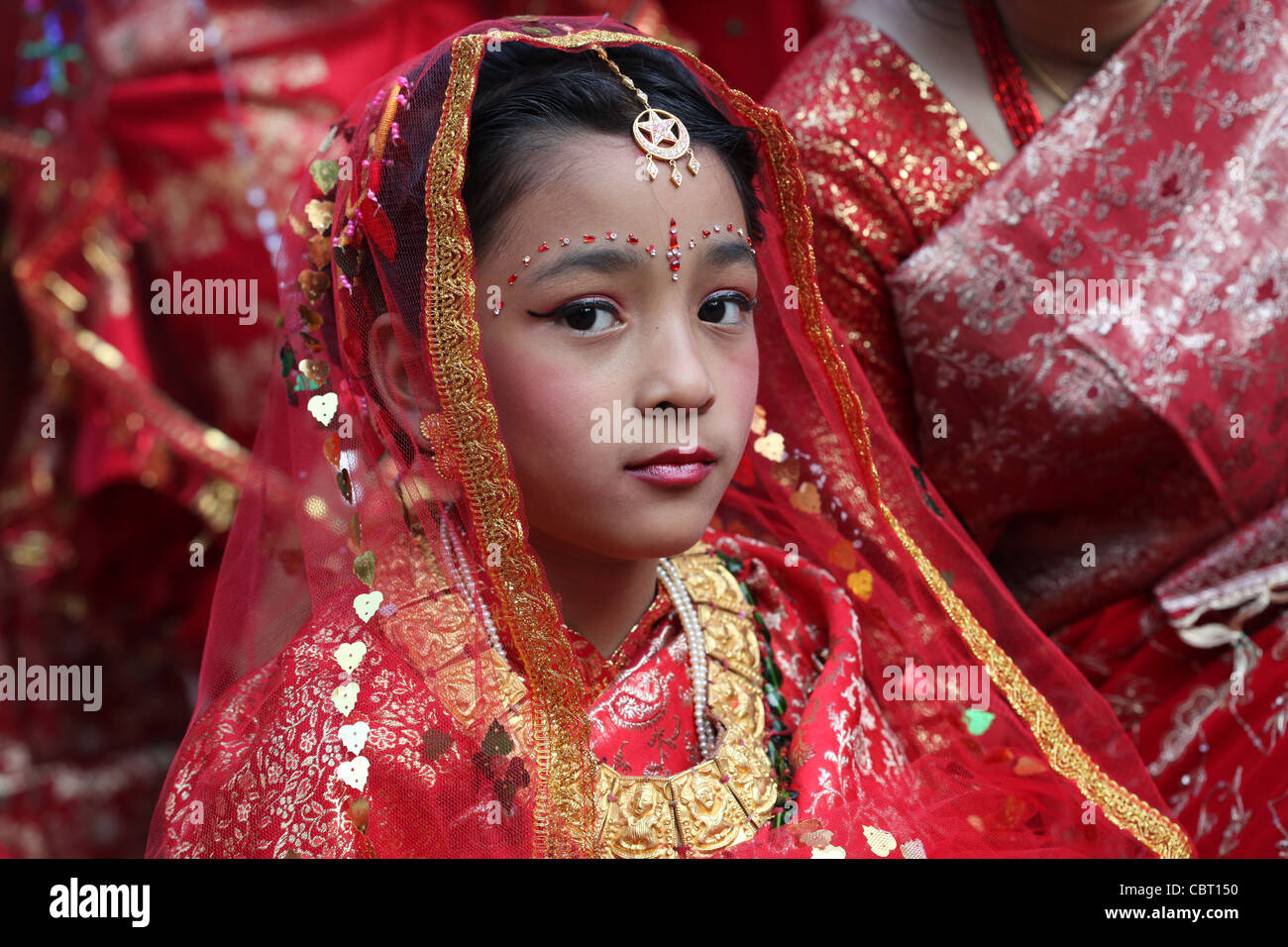Traditional Ceremonial Hindu Rite of passage for young Nepali Girl - Stock Image