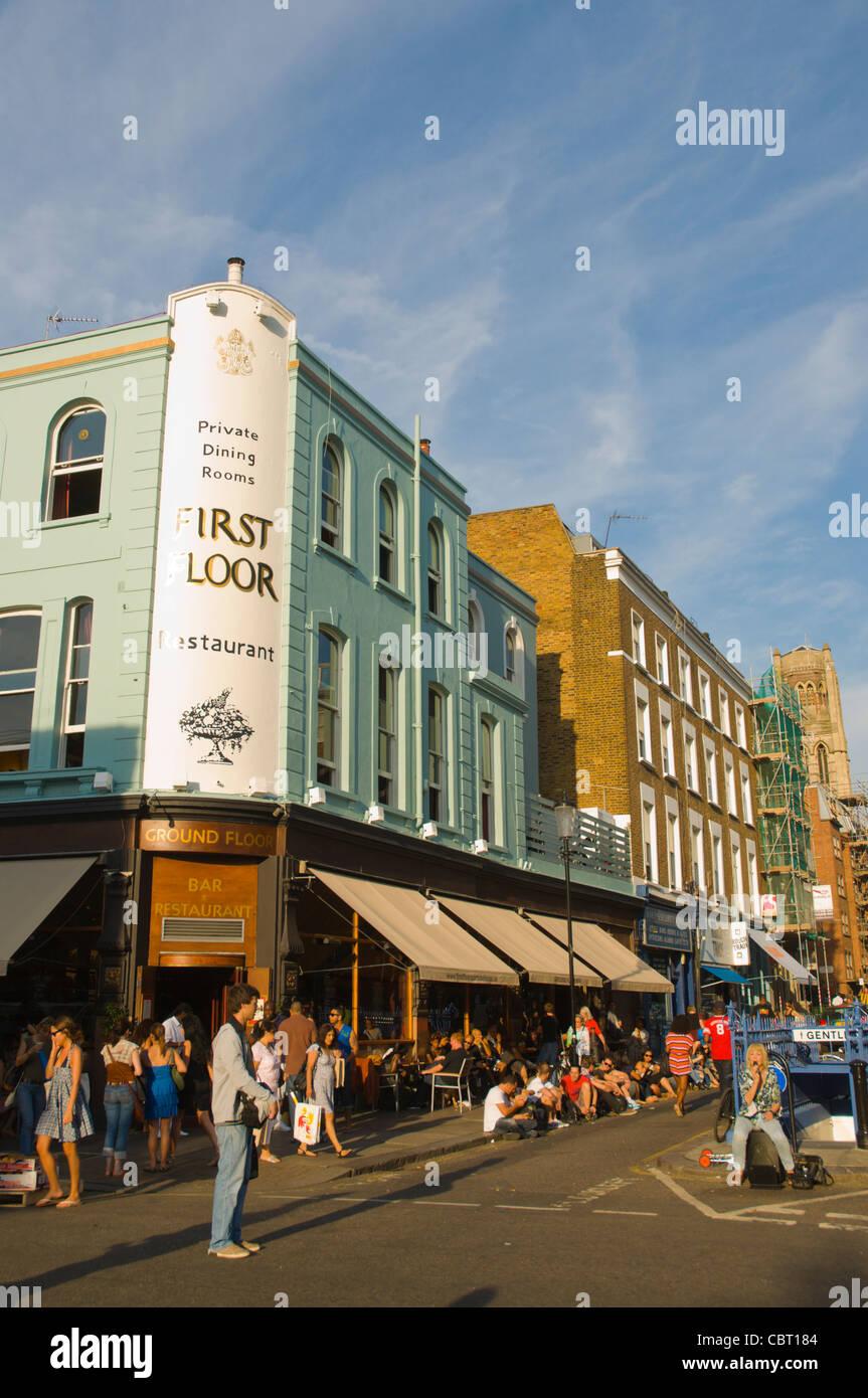 Portobello Road street during Saturday market Notting Hill district London England UK Europe - Stock Image