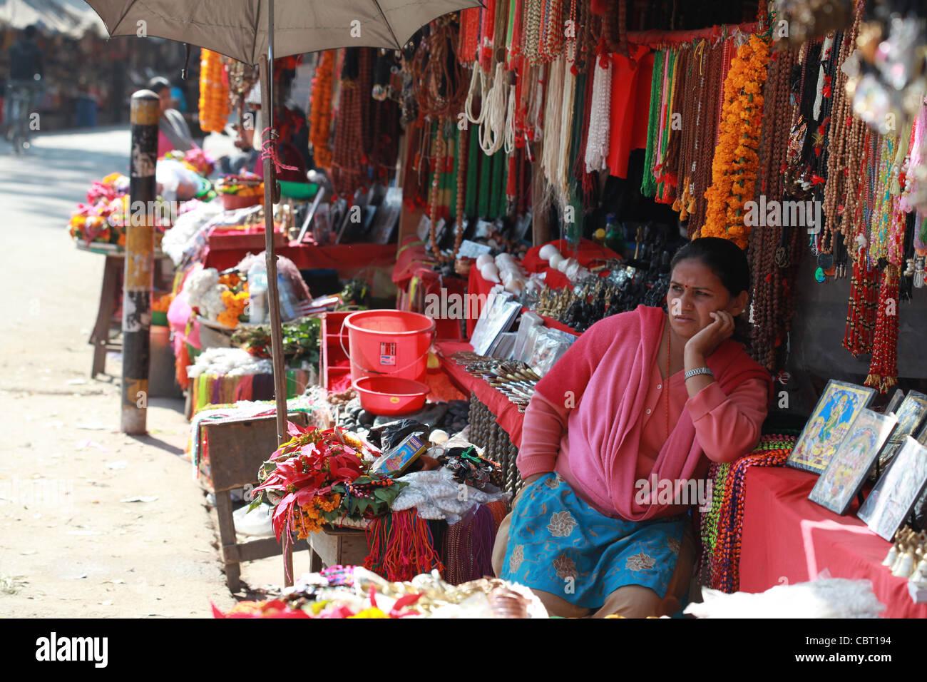 Pashupatinath Market Kathmandhu - Stock Image