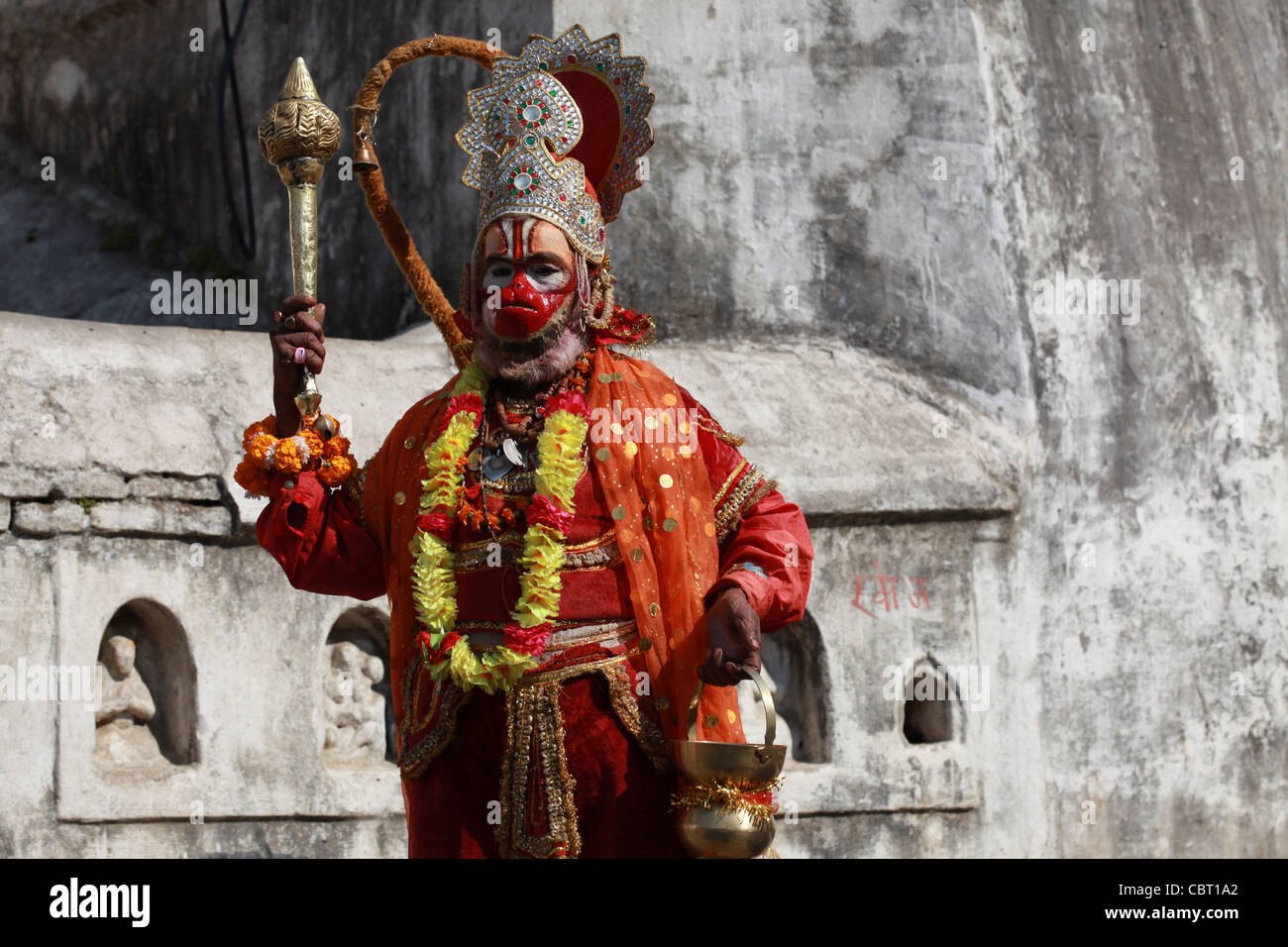 Hannuman Hindu god at Pashupatinath, Kathmandhu - Stock Image