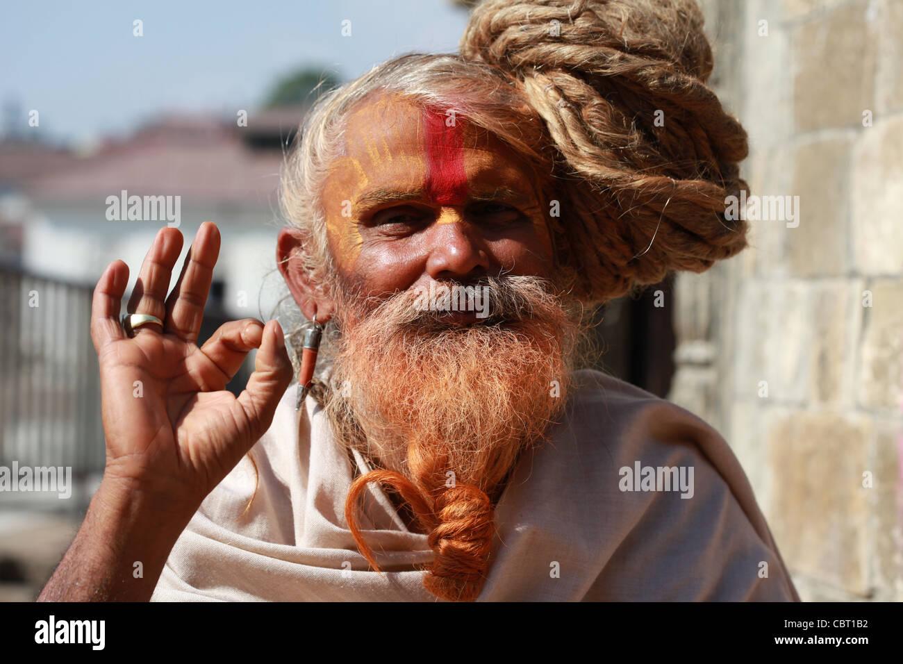 Pashupatinath Kathmandhu saddhu Hindu - Stock Image