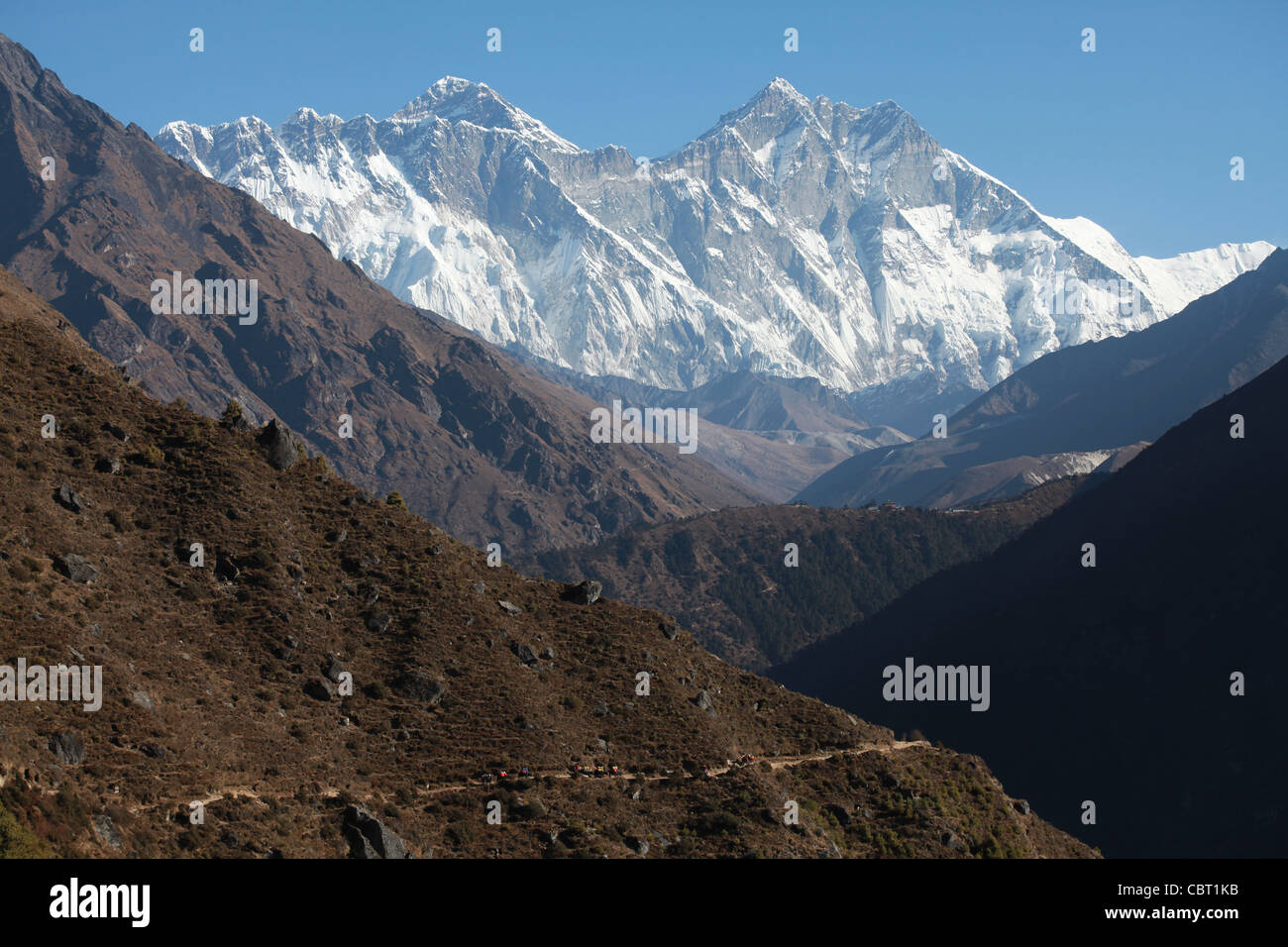 View of Mount Everest and the Khumbu valley from Namche Bazar - Stock Image