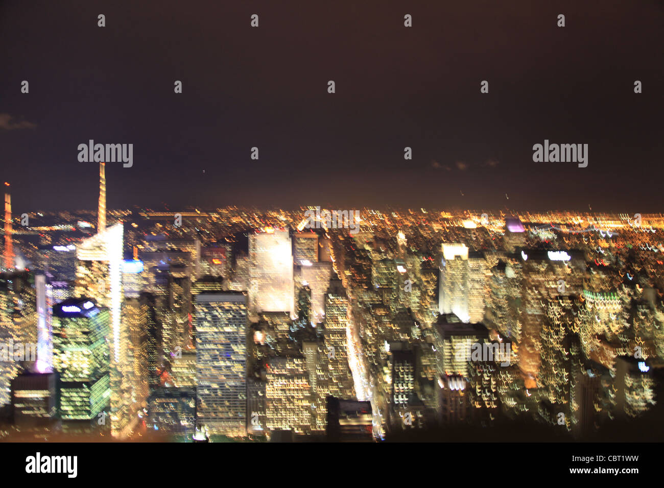 USA Manhattan at Night from Empire State - Stock Image