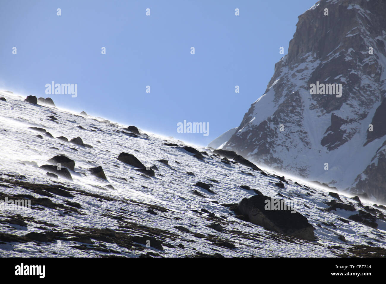 Windswept snow covered Mountain side in the Gokyo Valley - Stock Image