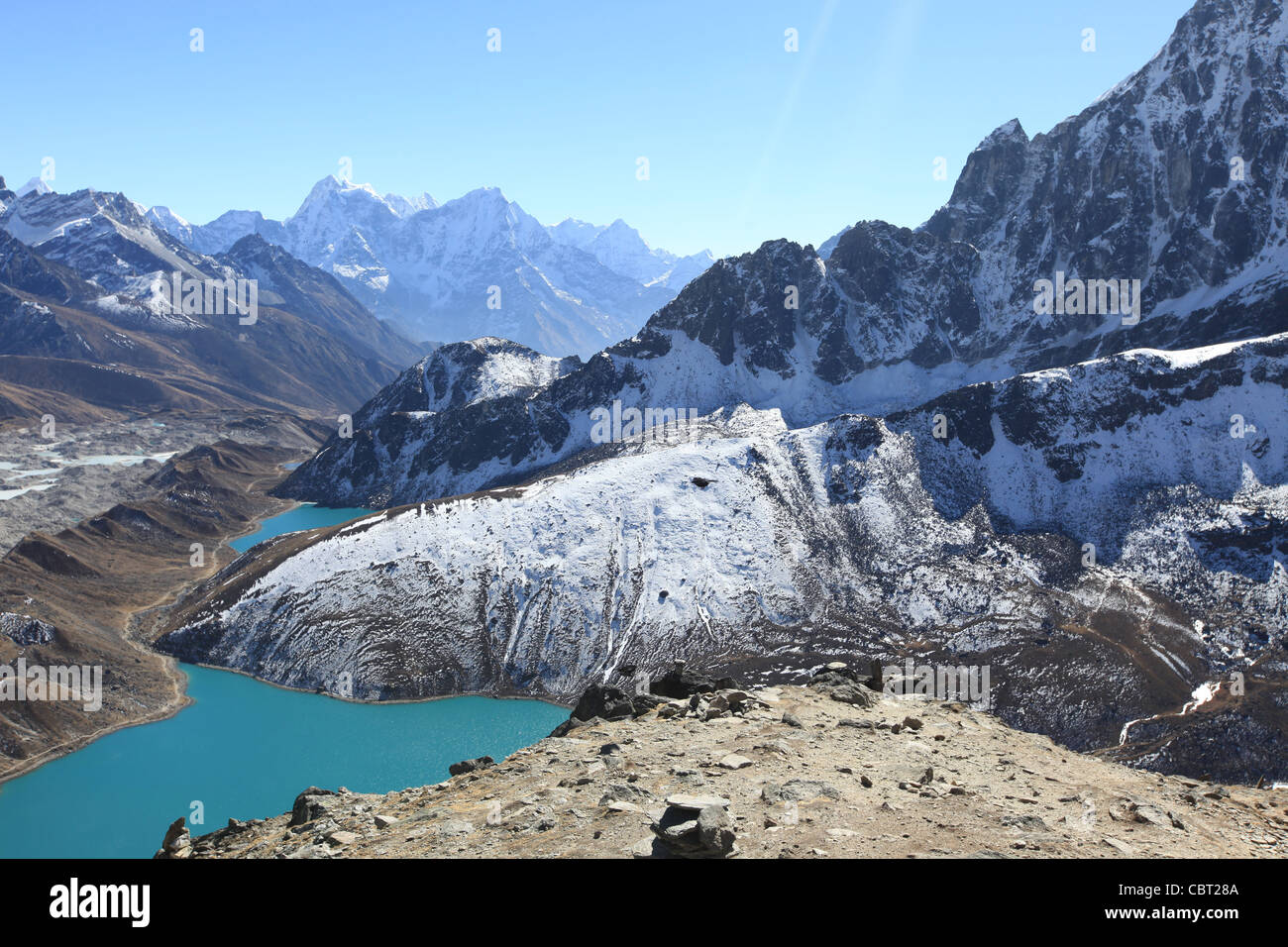 View from Gokyo-Ri of the Gokyo Village, Valley Glacier and Lake in the Himalayas - Stock Image