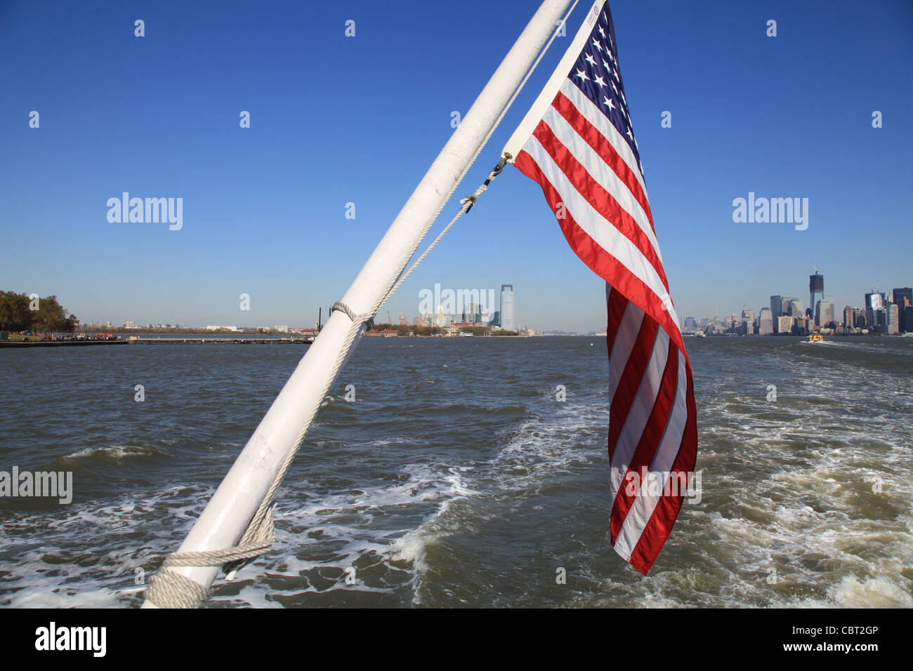 Manhattan, USA, The Stars and Stripes, Banner, outlook, sea, boat ride, trip, Flagge, Aussicht auf Manhattan, USA, - Stock Image