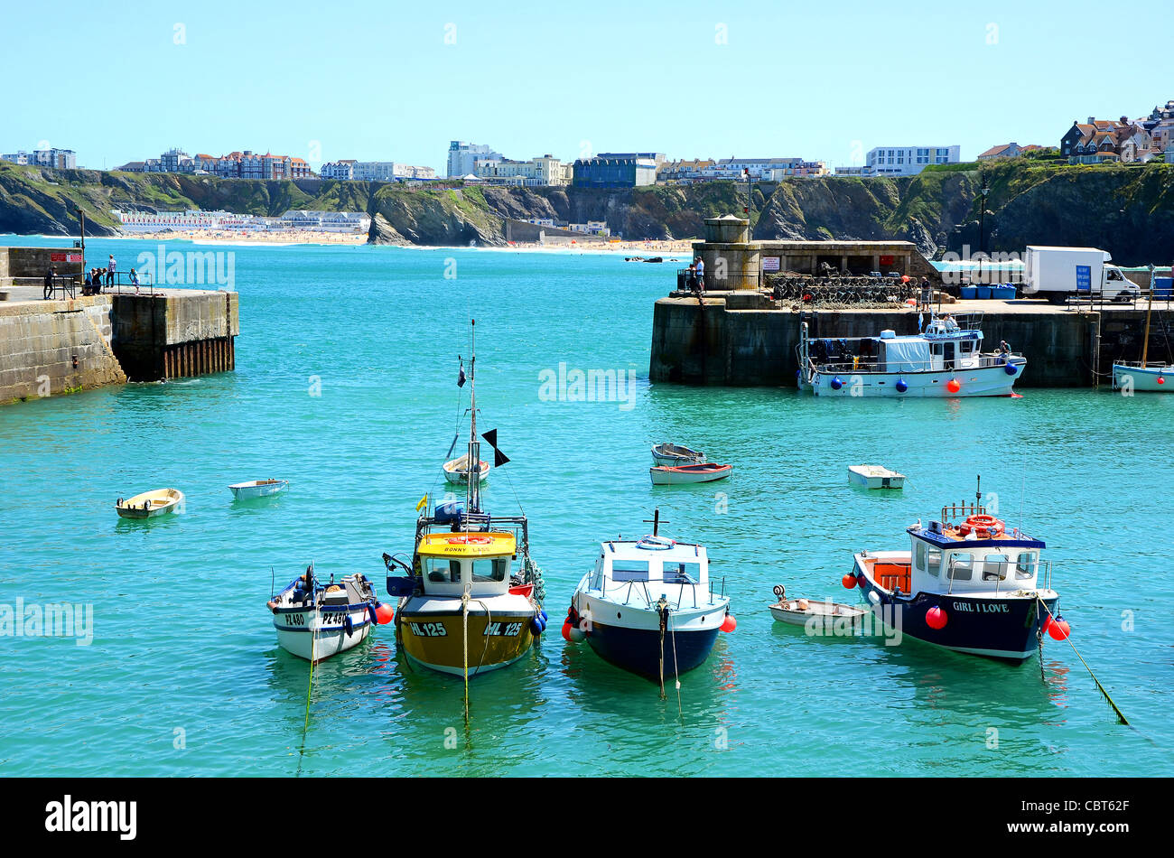 Fishing boats in the ahrbour at Newquay, Cornwall, UK - Stock Image