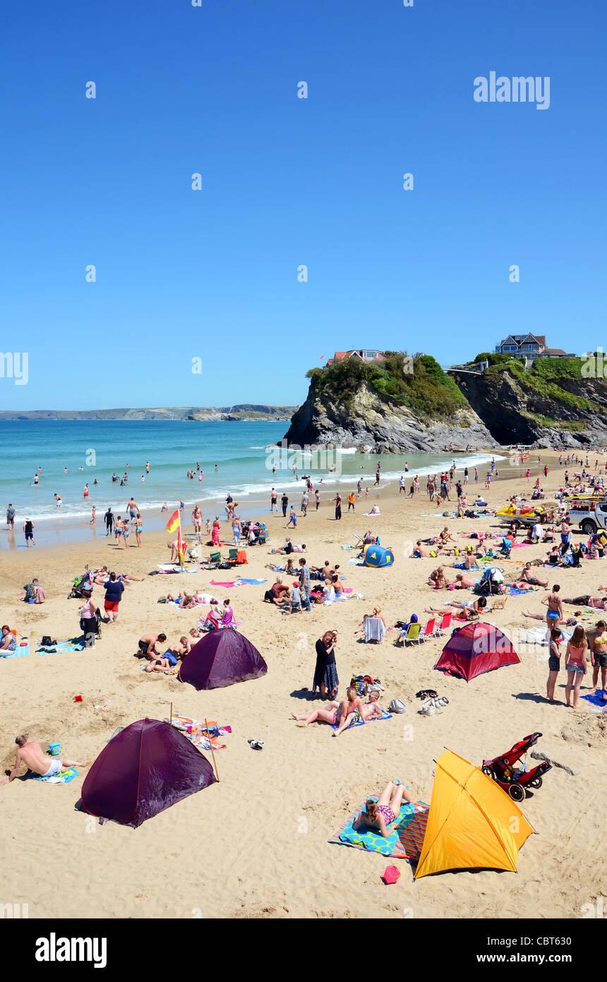 summertime at Towan beach in Newquay, Cornwall, UK - Stock Image