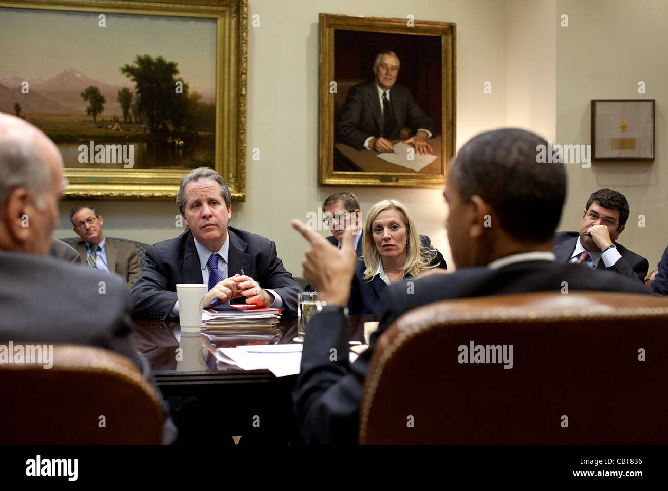 President Barack Obama meets with economic advisors in the Roosevelt Room of the White House November 7, 2011 in Stock Photo