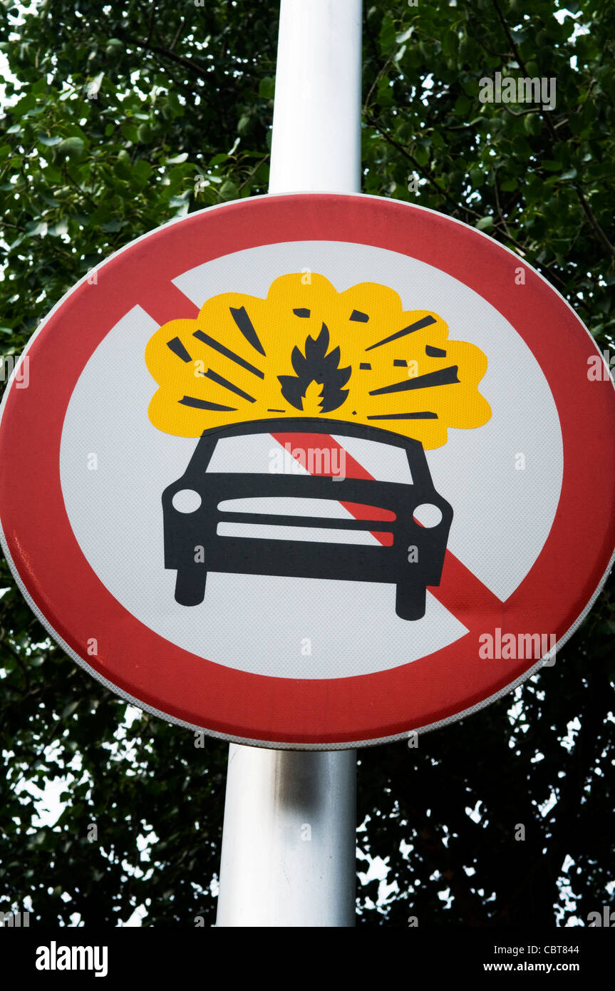 A street sign in Beijing China prohibiting propane fueled cars. - Stock Image
