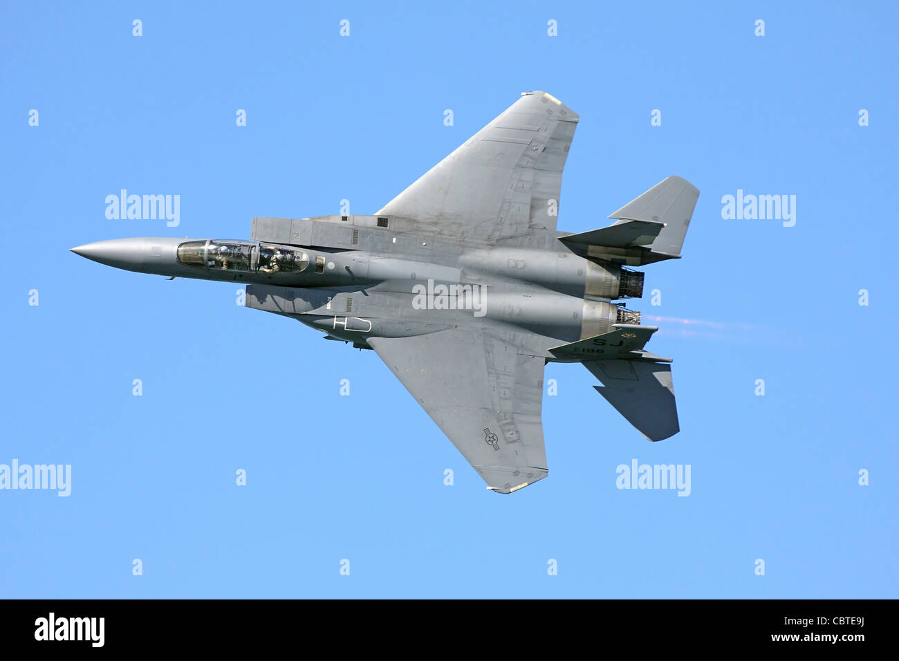 U.S. Air Force F-15 Eagle in flight. - Stock Image