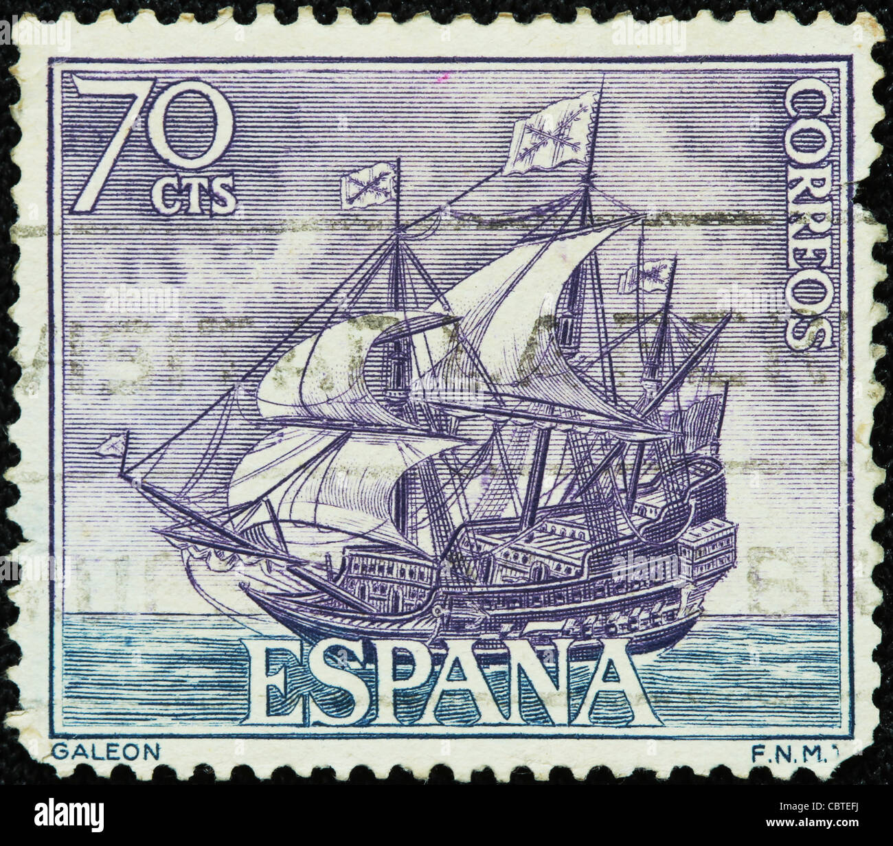 SPAIN A Spanish Galleon On Used And Canceled Postage Stamp Printed In Spain