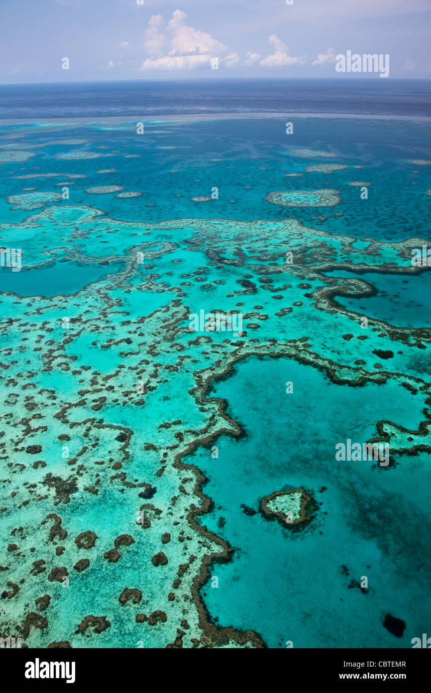 Aerial views of beautiful Heart Reef in the spectacular Great Barrier Reef near the Whitsunday Islands in Queensland, Stock Photo
