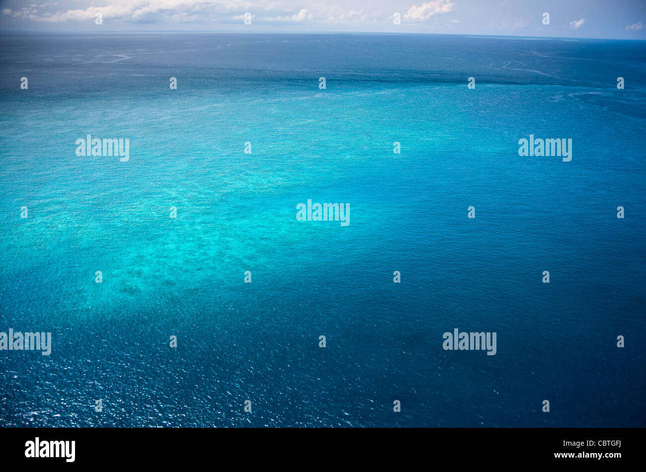Aerial views of the spectacular Great Barrier Reef near the Whitsunday Islands in Queensland, Australia. Stock Photo