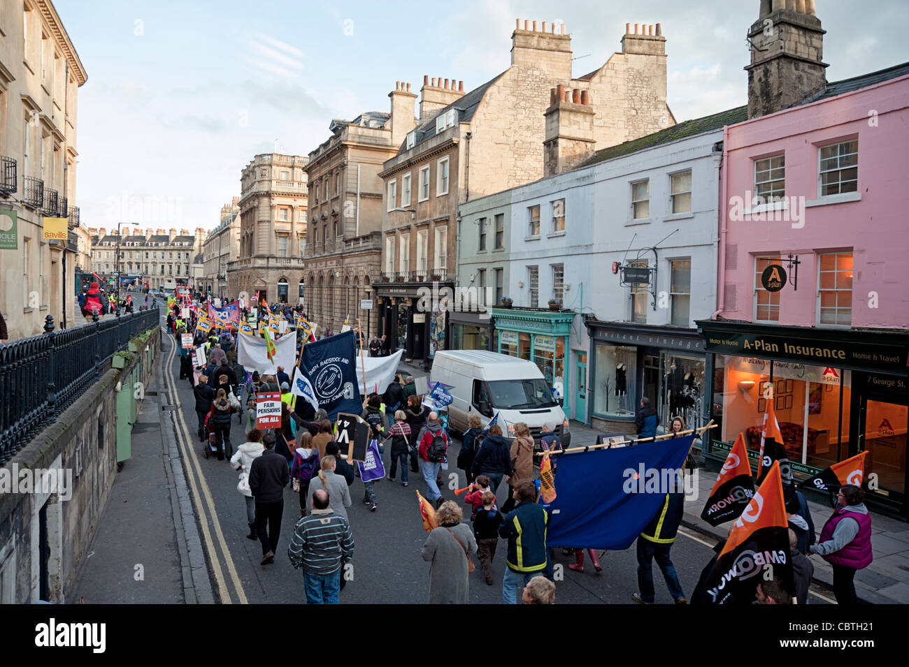 Trade Unions pensions protest march Bath UK - Stock Image