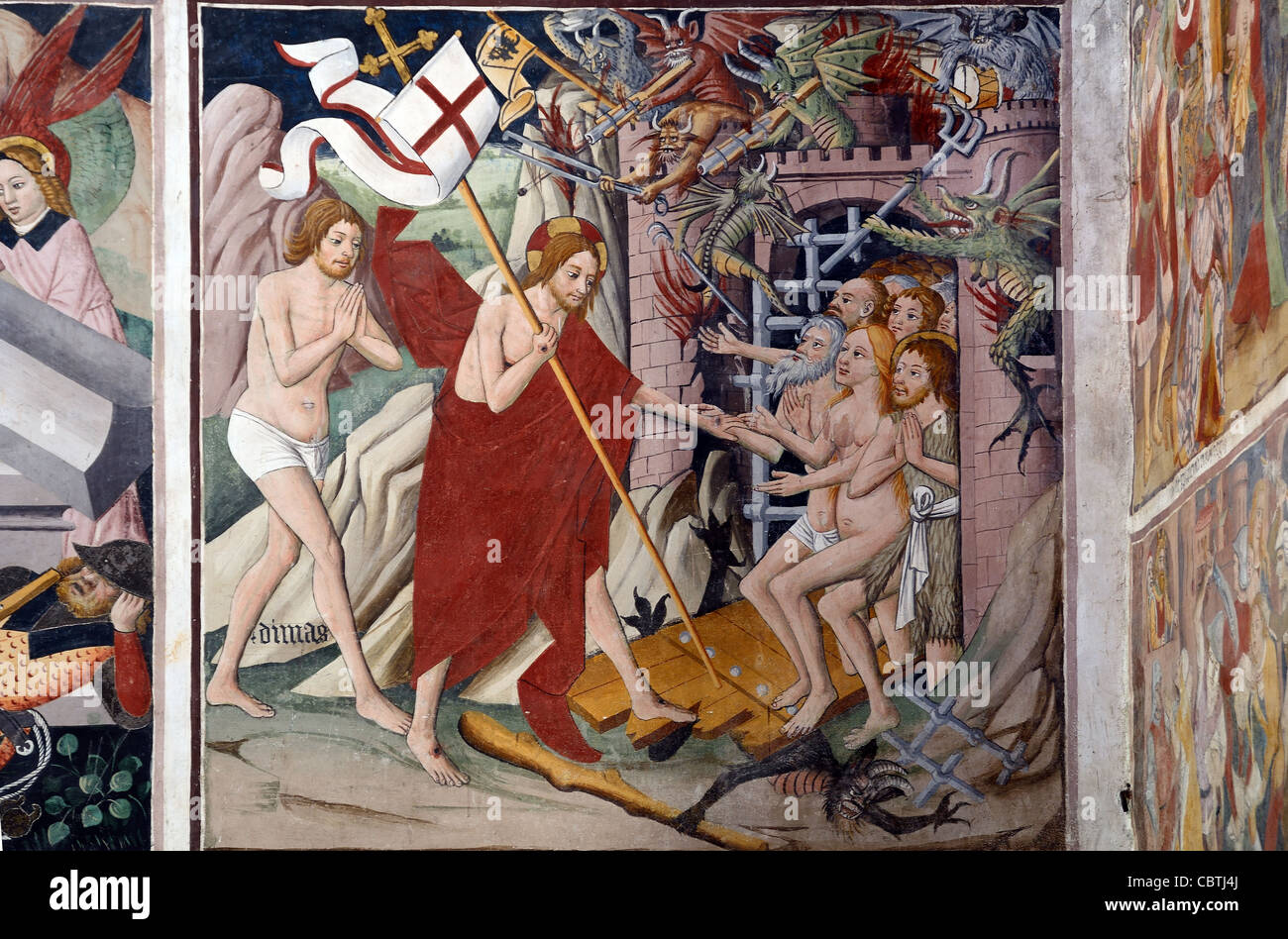 Christ's Descent into Hell Fresco (1492-1530) by Giovanni Canavesio, Notre Dame des Fontaines Chapel, La Brigue - Stock Image