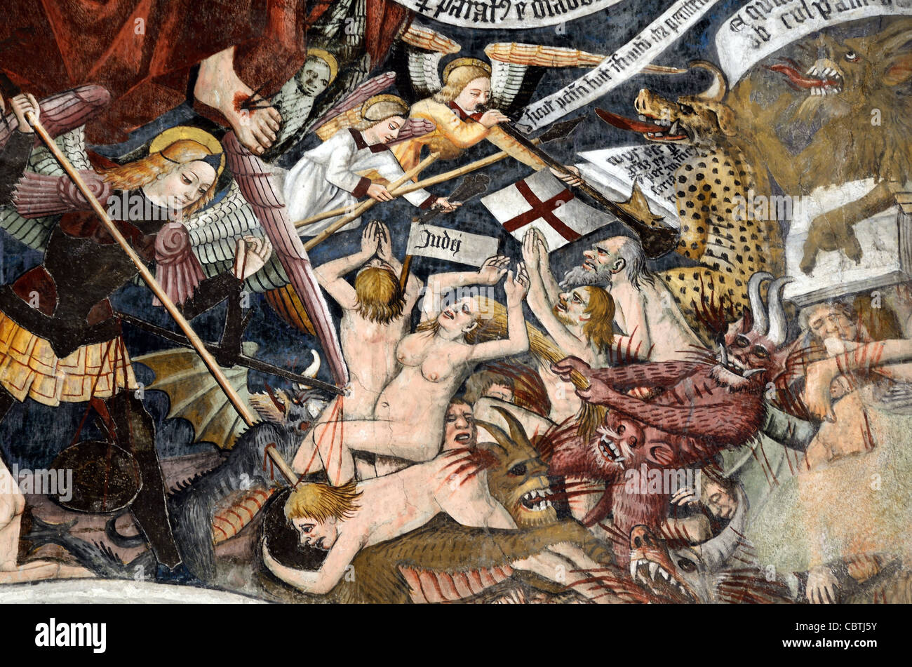 The Damned or Sinners in Hell Fresco (1492-1530) by Giovanni Canavesio, Notre- Dame des Fontaines Chapel, La Brigue - Stock Image