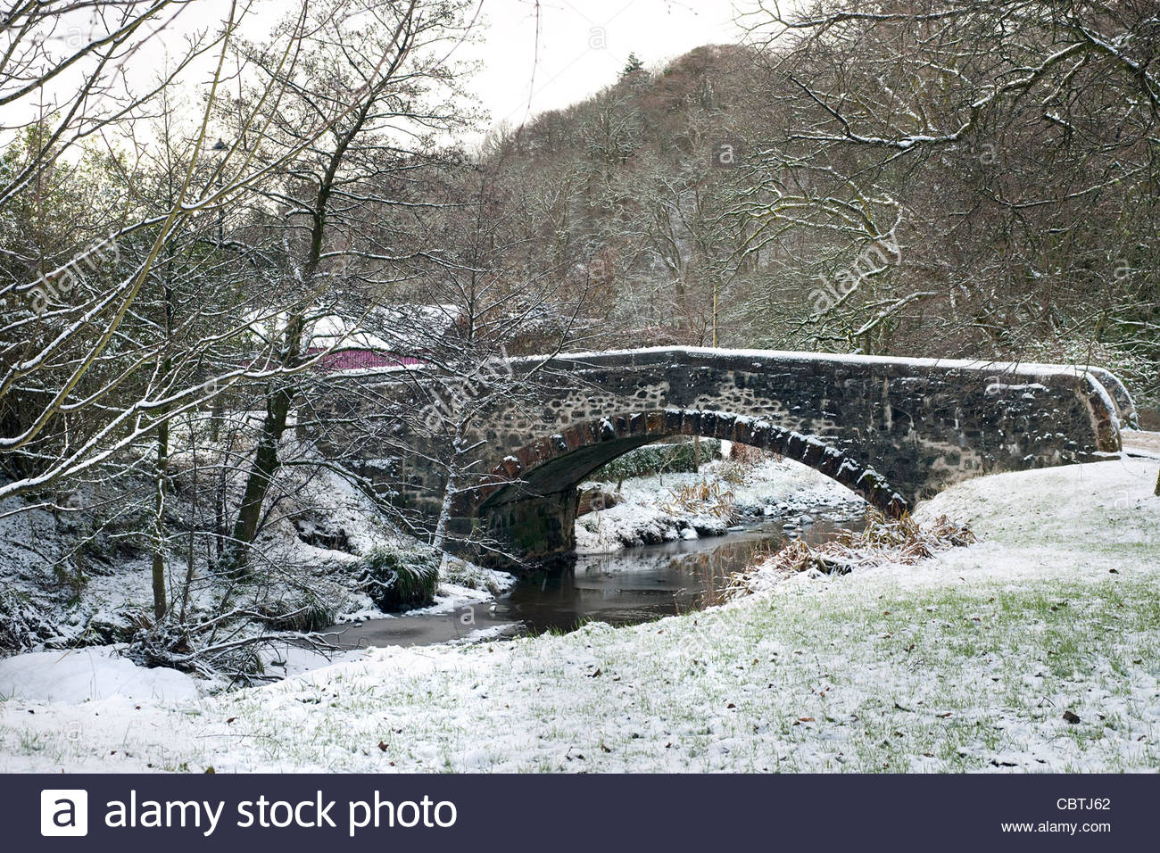 Old stone hump-backed bridge over the Gregg Burn in the village of Barr, Ayrshire, Scotland - Stock Image
