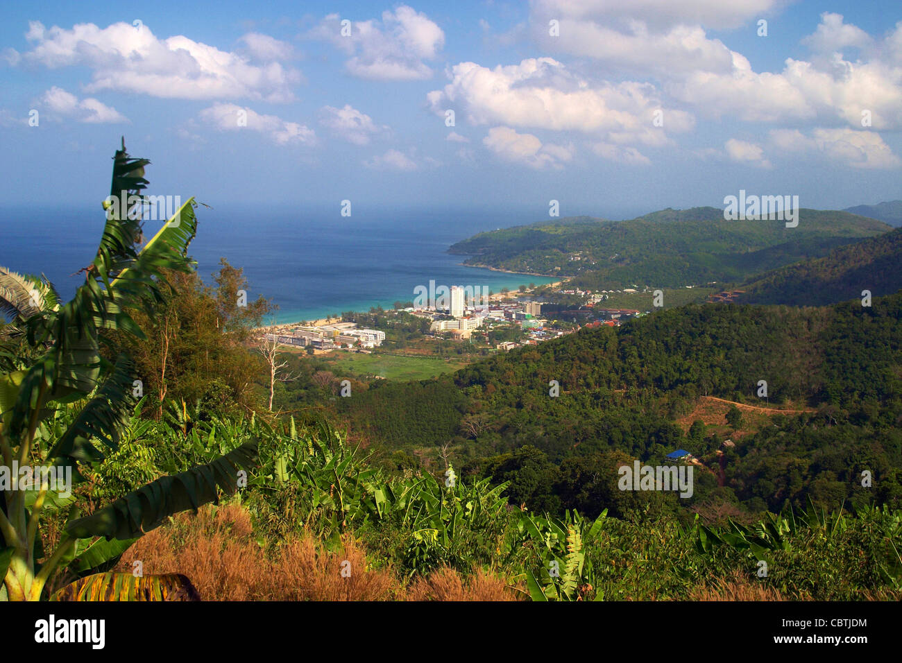 General view over the beach resort of Karon on the Phuket coast - Stock Image