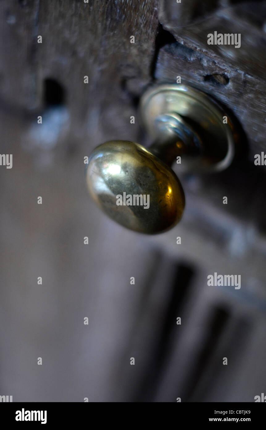 old brass door knob - Stock Image