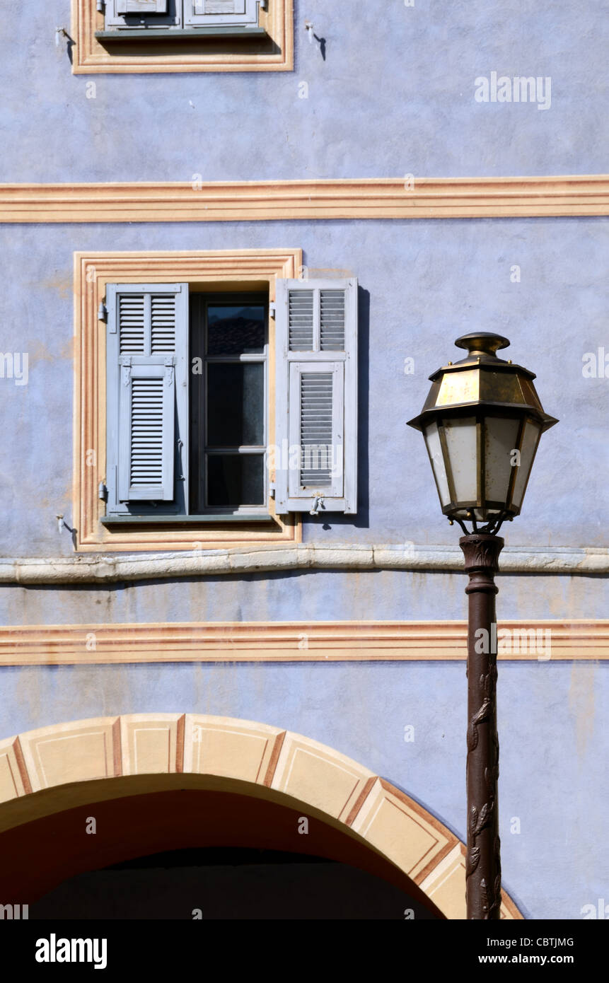 Blue Arcade House and Shutters, La Brigue, Roya Valley, Alpes-Maritimes, France - Stock Image