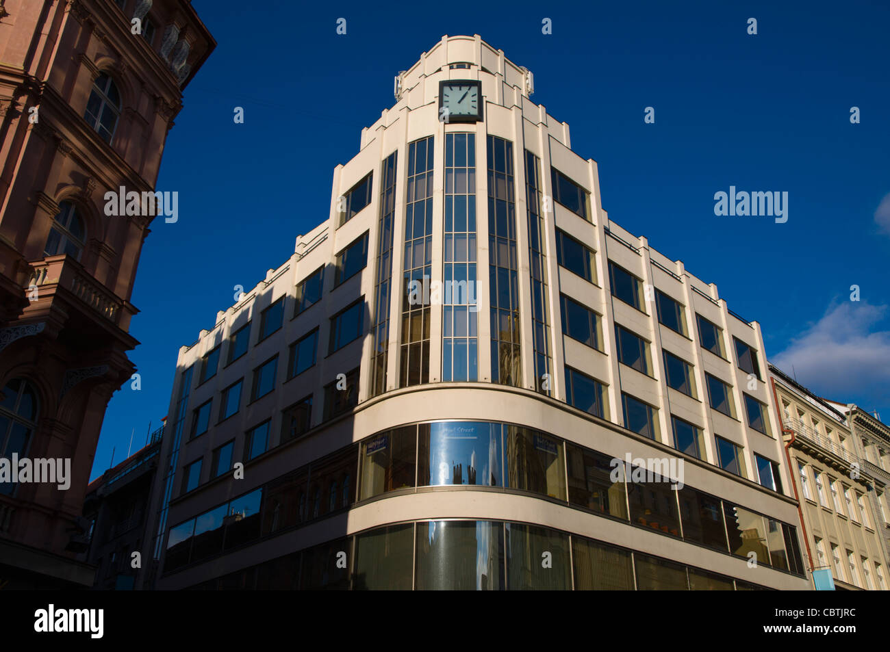 Former ARA department store (1931) now houses CSOB bank at junction of Narodni and Perlova streets Prague Czech - Stock Image