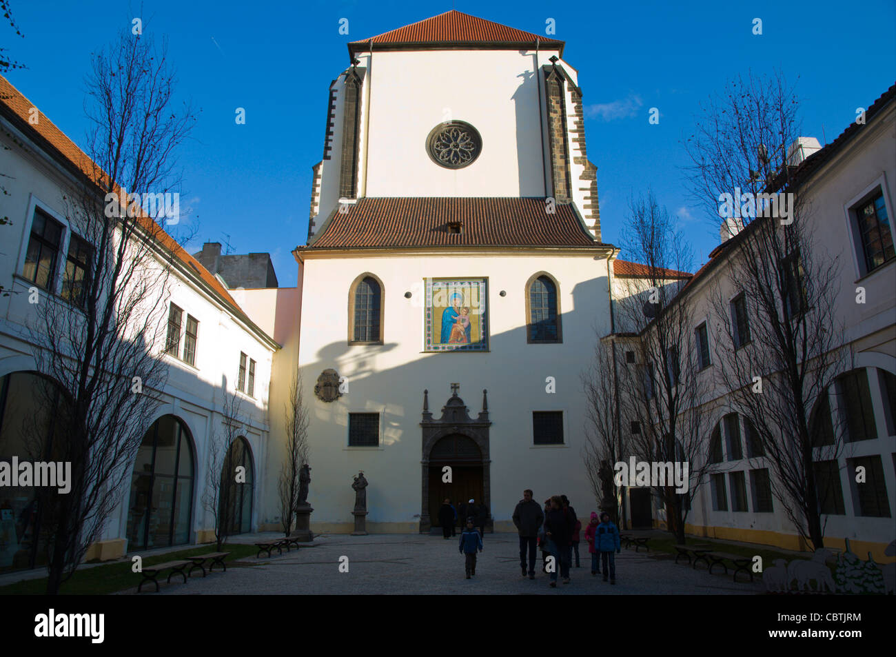 Courtyard of Panny Maria Snezne church new town Prague Czech Republic Europe - Stock Image