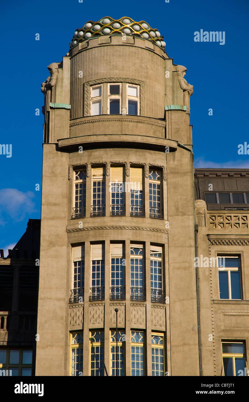 Turret of the Art Nouveau Palac Koruna building Vaclavske Namesti square new town Prague Czech Republic Europe - Stock Image