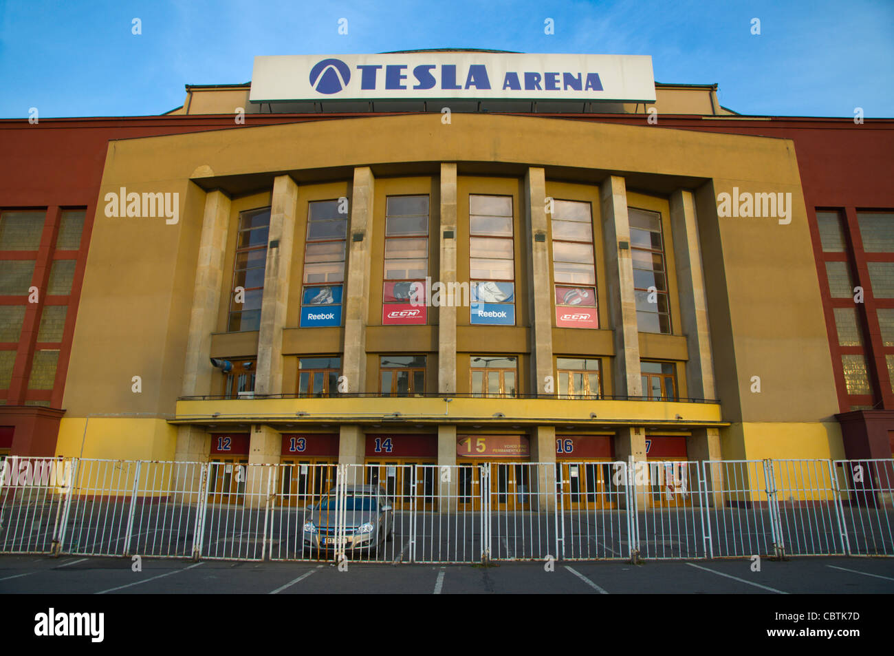 Tesla Arena ice hockey hall exterior Vystaviste exhibition grounds Holesovice district Prague Czech Republic Europe - Stock Image
