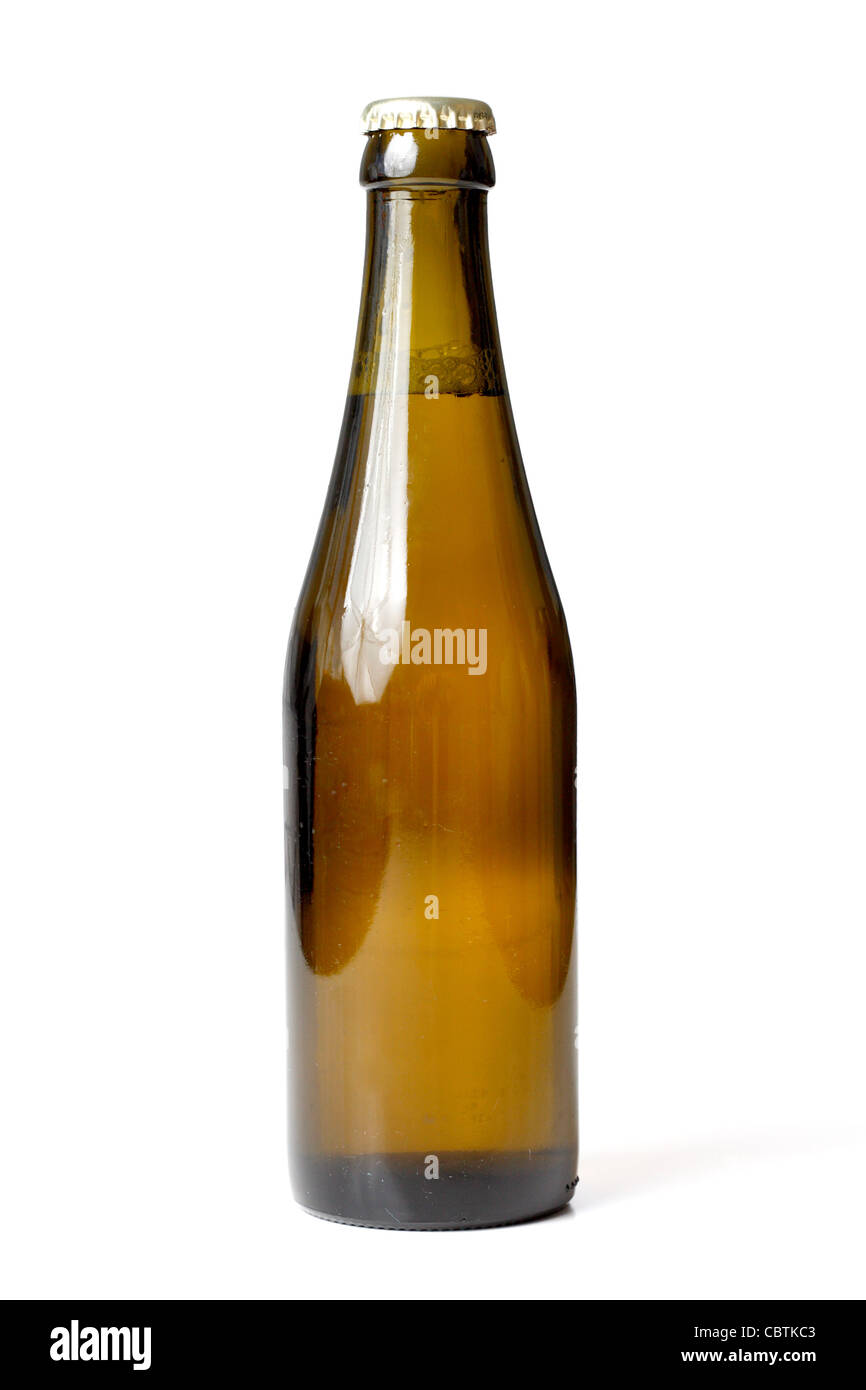 A beer bottle isolated on white - Stock Image