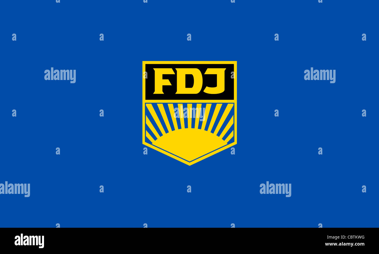 """Flag of the GDR youth organization """"Freie Deutsche Jugend"""" FDJ with the emblem of the state near youth organization. Stock Photo"""